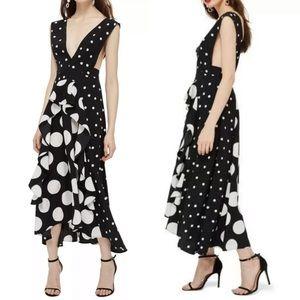 TopShop Polka Dot Plunge Neck Midi Dress